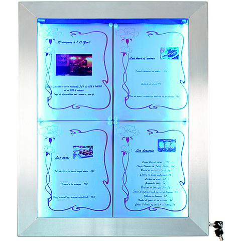 6122264629 Securit® LED Informatie display 4XA4 gekleurde LEDS RVS, incl. afstandsbediening